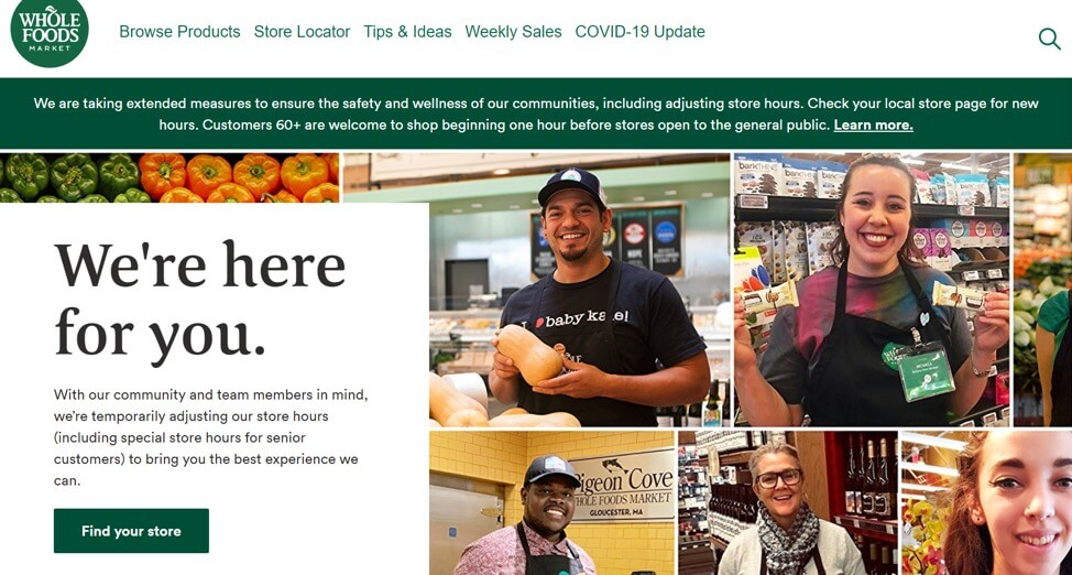 Whole Foods grocery delivery service COVID-19