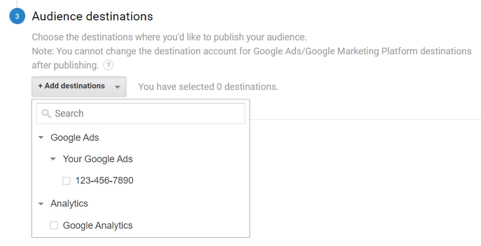 Audience destinations in Google Analytics