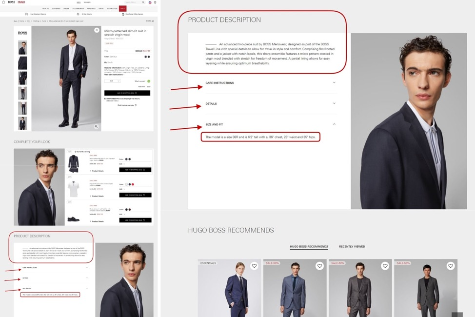 Hugo Boss persuasive product copy analysis