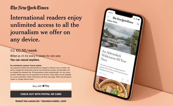 effective facebook ad landing page CTAs example New York Times