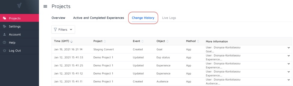 Change History Log in Convert Experiences