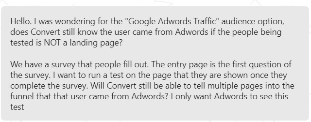 A/B testing with Google Ads support query Convert Experiences